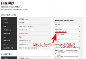 LAND-FX30%入金ボーナス